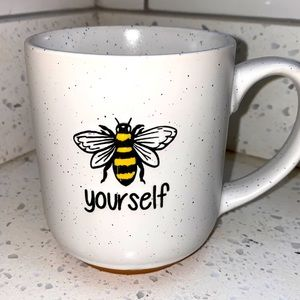 """17 oz Speckled Ceramic """"Bee Yourself"""" mugs"""